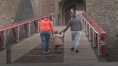 Stephanie, Clair and Poppy walk into Castell Coch