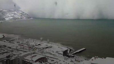 Turkish coast and snowstorm