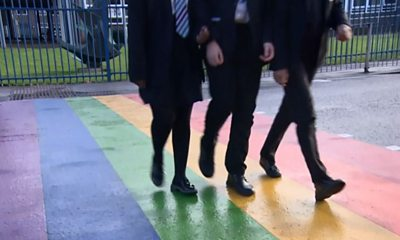 Pupils walking over the crossing