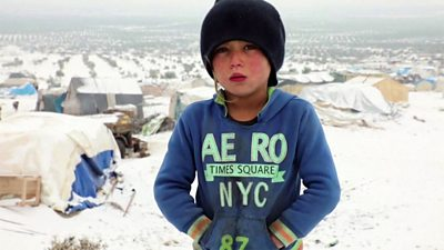 A boy at a makeshift camp for displaced Syrians in Azaz