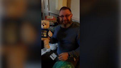 Father with teddy bear