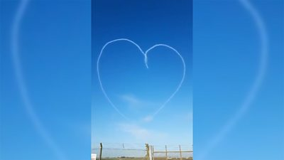 The Red Arrows create a Valentine's treat in the skies above RAF Scampton