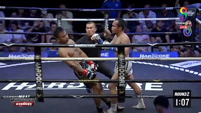 Watch this quick-thinking kickboxing referee stop a fighter's head from hitting the ground after he was knocked out during a Muay Hardcore match in Bangkok.