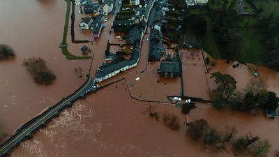 Pretty Crickhowell was left awash with muddy water