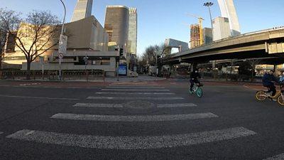 Empty zebra crossing in Beijing