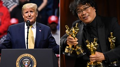 A composite image showing Donald Trump on the left, and Bong Joon Ho