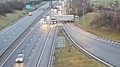 Staffordshire Police release CCTV footage of a lorry driver making a dangerous manoeuvre on the M6 Toll.