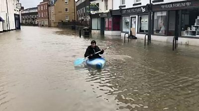 Kayaker on Longden Coleham