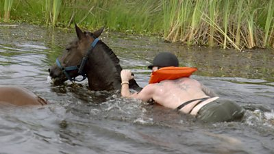 Mike Corey swims with the horses