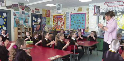 School pupils washing hands