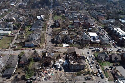 Aerial footage shows Nashville tornado damage
