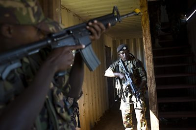 The Scots Guards Regiment training Kenyan soldiers