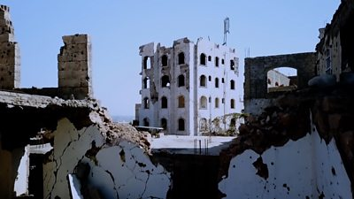 Damaged buildings in Taiz