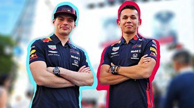 Max Verstappen and Alex Albon