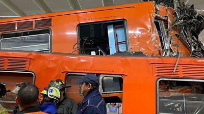 Train wreckage at Tacubaya station