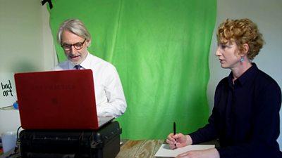 Professors teach an online class