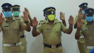 Indian policemen dancing
