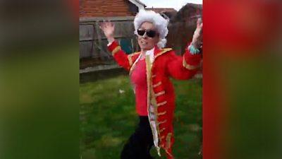 Fiona dressed as Mozart
