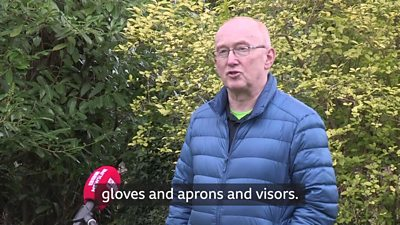 Dr John Porteous, a GP from Lisnaskea, County Fermanagh, explains how much personal protection equipment kits his GP practice have been given.  He said he had a small amount of kit