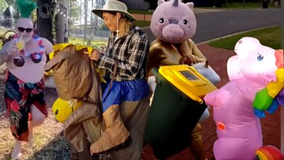 Australians are having fun with fancy dress videos, bringing some relief to the stresses of lockdown.