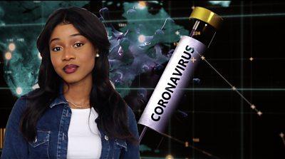 Presenter with graphic of coronavirus vial in background
