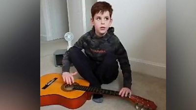 Joseph, who is blind and has autism, has turned his passion for music to the coronavirus.