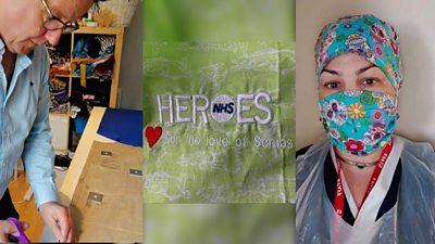 Volunteers making scrubs for the NHS