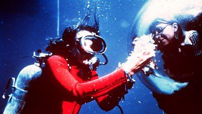 Female aquanauts at the bottom of the Caribbean Sea
