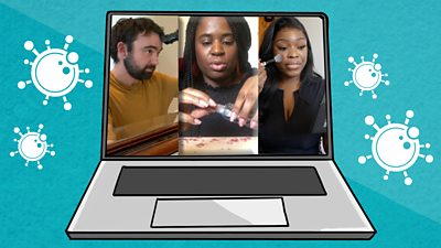 Laptop with picture of the three people in the film.