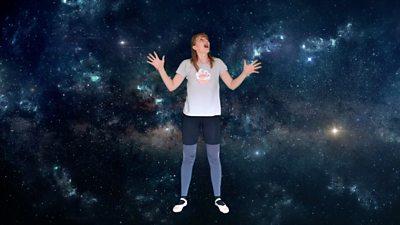 Woman dancing in space