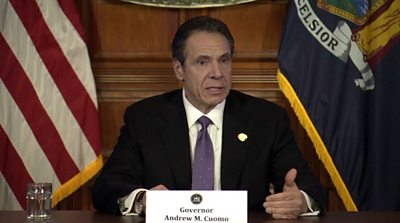 NY Governor Andrew Cuomo holds daily press briefing