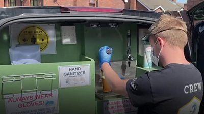 Pint being poured in a van