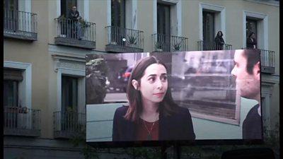 Cinema screen on Madrid street