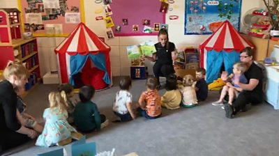 Children in daycare with the teacher