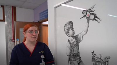 The elusive artist's latest work, Game Changer, is on display at Southampton General Hospital.