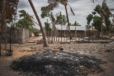 Village burned after attack in Mozambique