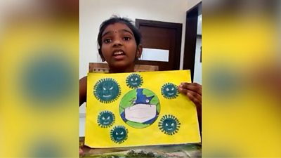 Some Indian children have taken to art to combat their anxieties about life under lockdown.