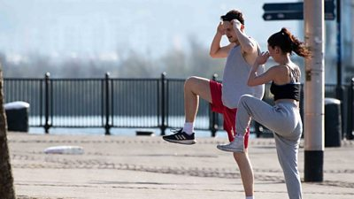 Exercising in Cardiff Bay