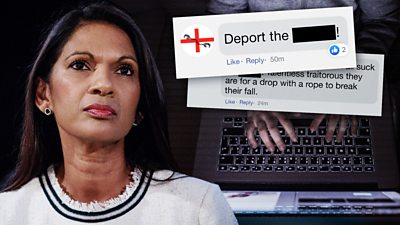 A collage showing Gina Miller and screenshots of some of the abuse she's faced on social media.