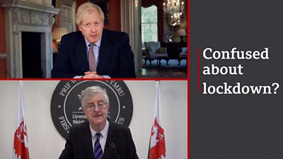 Mark Drakeford and Boris johnson next to text reading 'confused about lockdown?'
