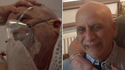 Composite image of Ertan in hospital and at home