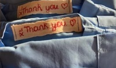 Scrubs with thank you message