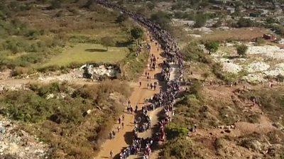 Massive queue in Centurion, South Africa