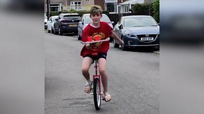 Finley Nash on his unicycle