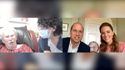 Duke and Duchess of Cambridge play bingo in a video call to a Cardiff care homel