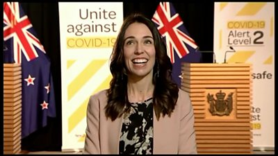 Prime Minister Ardern looks upwards during earthquake