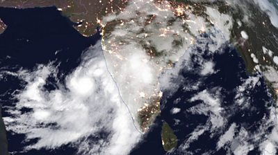 Satellite image of Cyclone Nisarga approaching Maharashtra