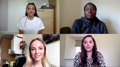 Four young people talknig about pandemic