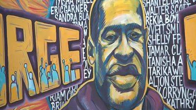 A mural of George Floyd