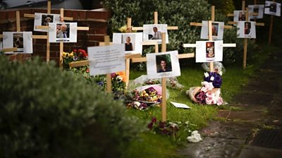 Memorial for coronavirus victims outside Riverside Church, Burton-on-Trent, on 30 April